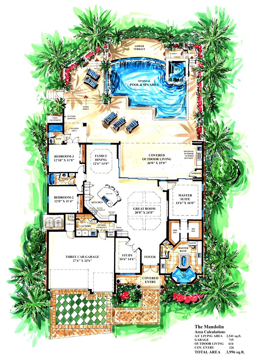 The Mandolin on Cape Coral Fl Model Homes Floor Plans